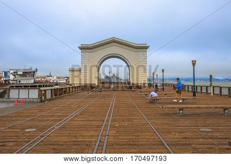 San Francisco, California, United States - August 14, 2016: Old Port Gate at Pier 39 in Fisherman's Wharf waterfront district, one of the most famous places in San Francisco. California travel concept