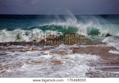 Raging ocean at Kepuhi Beach on Moloka'i Island Hawai'i