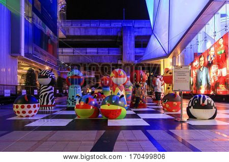 Bangkok Thailand - June 05 2012: Outdoor decoration with few people taking photograph with placed between Siam Center and Siam Discovery two famous shopping malls in Siam Square area