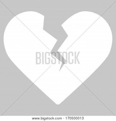 Divorce Heart vector icon symbol. Flat pictogram designed with white and isolated on a silver gray background.
