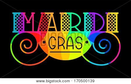 Mardi Gras brochure. Vector logo with typography and multicolor fat symbols. Greeting card with festive carriage. Illustration of Carnival Mardi Gras on colorful mosaic.