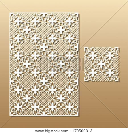 Laser cut vector panel and the seamless decorative pattern. Cutout silhouette with botanical pattern.  A picture suitable for printing, engraving, laser cutting paper, wood, metal, stencil manufacturing. Die cut card.
