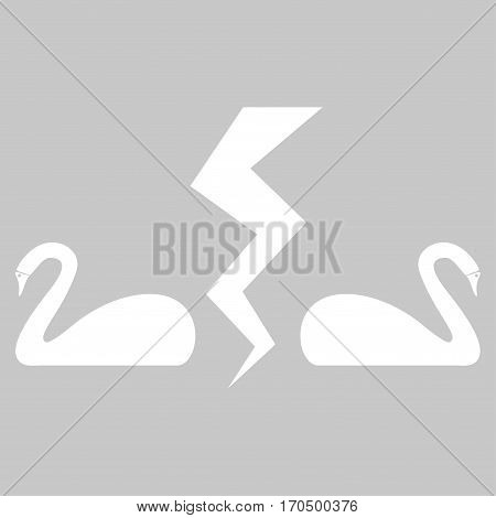 Divorce Swans vector icon symbol. Flat pictogram designed with white and isolated on a silver gray background.