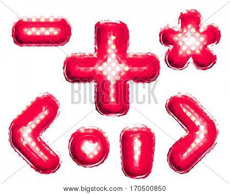 Balloon red with gold alphabet symbols and punctuation signs of plus, minus, dot, comma, star glyph, brackets on white background