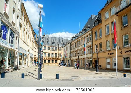 LUXEMBOURG, LUXEMBOURG - JUNE19, 2016: View of Grand Ducal Palace in Luxembourg City