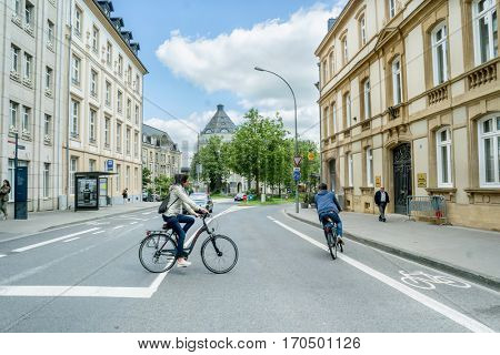 LUXEMBOURG, LUXEMBOURG - JUNE19, 2016: Movement of bicyclists on Luxembourg