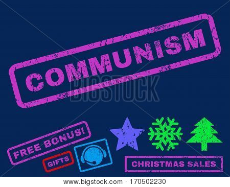 Communism text rubber seal stamp watermark with bonus christmas symbols. Tag inside rectangular banner with grunge design and dirty texture.