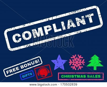 Compliant text rubber seal stamp watermark with bonus christmas symbols. Caption inside rectangular banner with grunge design and dirty texture.