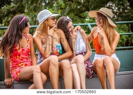 happy outdoor young women having fun