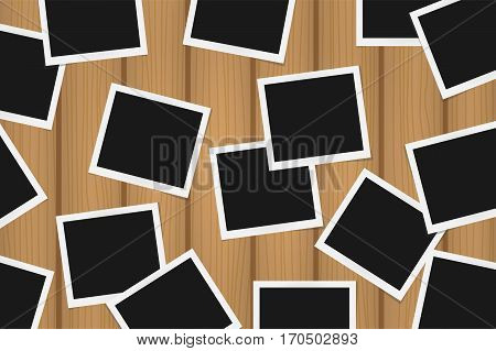 Background Of Realistic Photo Frames On Brown Wooden Texture. Template Retro Photo Design. Vector Il