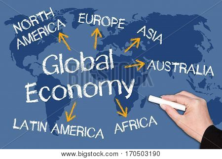 Global Economy - blue world map with arrows and text