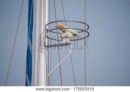 The ship's radar on a mast. Yacht's Masts