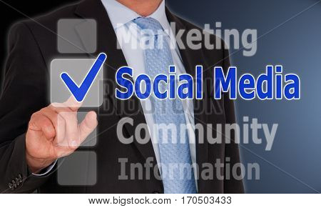 Social Media - Businessman with internet touchscreen