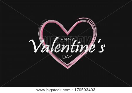 Happy Valentine's Day Background. Holiday Black And Pink Style Card Design Concept. Vector Illusirat