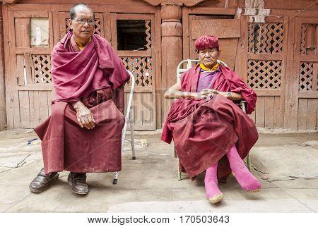Ladakh, India - July 10, 2016: Buddhist monks at Thiksay monastery in Ladakh, Kashmir, India