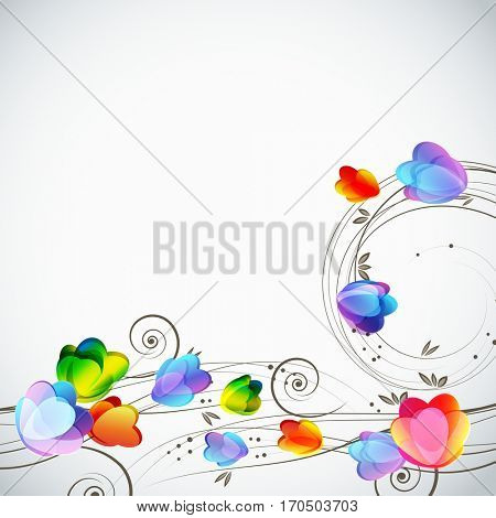 Abstract floral background, elegant tulips flowers. Border.