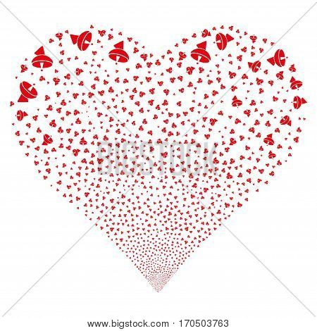 Radio Telescope fireworks with heart shape. Vector illustration style is flat red iconic symbols on a white background. Object love heart created from scattered symbols.