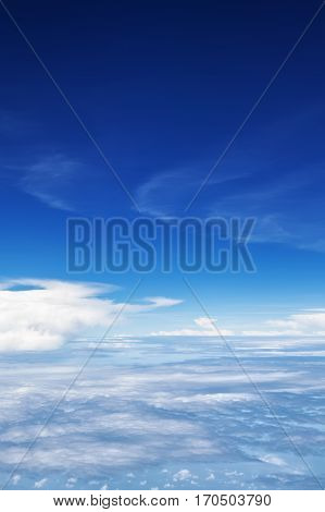 Clear blue sky. Aerial view from passenger cabin through plane window. Aircraft fly in mid air. Flight above earth and beautiful white cloud. Vacation tour travel background with copy space