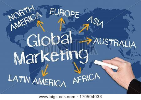 Global Marketing - world map with text and arrows