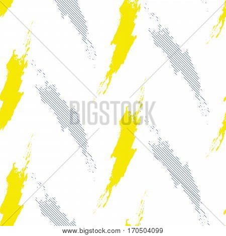 Paint brushstrokes strokes seamless vector pattern. Blue and yellow brush smear stripes white bold background.