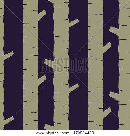 Khaki tree stem silhouettes seamless vector pattern. Scandinavian style forest trees with boughs blue and grey background.