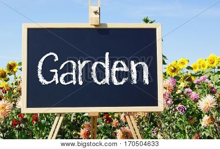 My beautiful Garden - easel with flowers in the summer garden