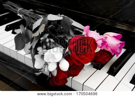 Flowers on piano - condolence card with deepest sympathy