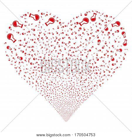 Retort fireworks with heart shape. Vector illustration style is flat red iconic symbols on a white background. Object valentine heart created from scattered design elements.