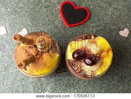 Homemade Pudding Mix Of Vanilla Chocolate And  Cherry