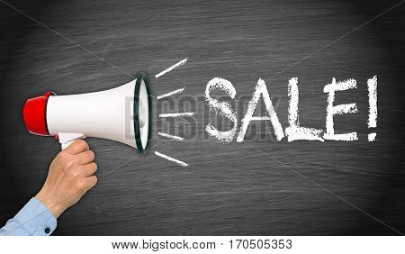 Sale - female hand with megaphone and text - commerce and advertising