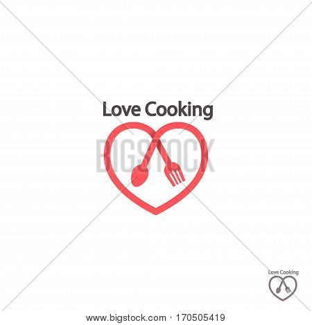 Cook logo. Love cooking Logo for Food Restaurant. Cook logo vector tempalate with heart spoon and fork