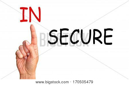 Security Concept - female hand with index finger and text on white background