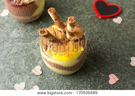 Homemade Pudding Mix Of Vanilla And Chocolate