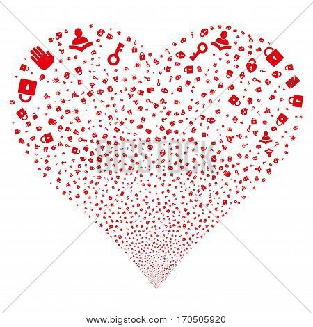 Secrecy Symbols fireworks with heart shape. Vector illustration style is flat red iconic symbols on a white background. Object valentine heart organized from confetti pictographs.
