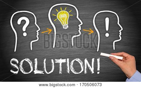 Solution - business concept with team and question, idea and solution