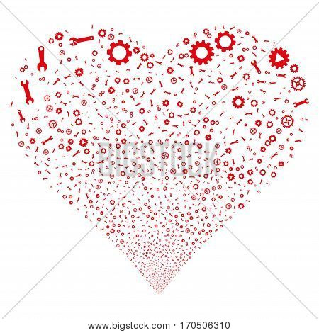 Setup Tools fireworks with heart shape. Vector illustration style is flat red iconic symbols on a white background. Object love heart combined from scattered icons.