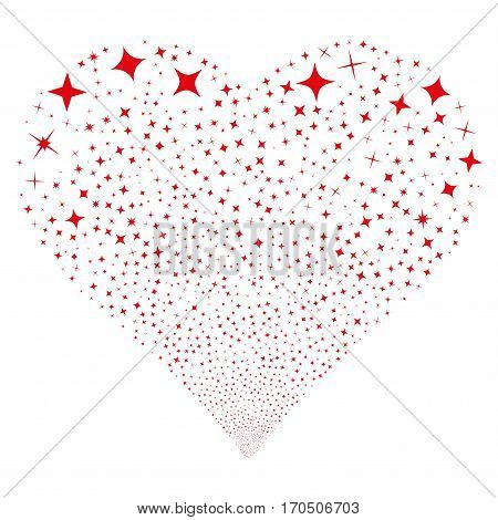 Shine Stars fireworks with heart shape. Vector illustration style is flat red iconic symbols on a white background. Object valentine heart constructed from random pictograms.