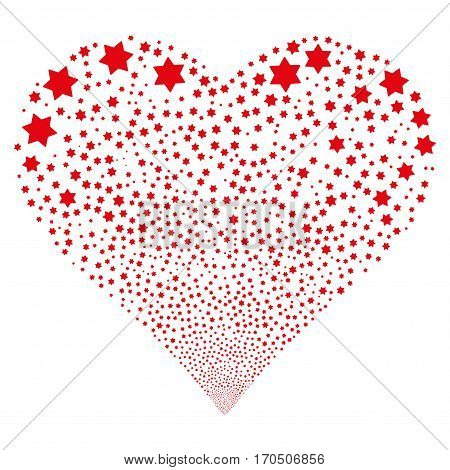 Six Pointed Star fireworks with heart shape. Vector illustration style is flat red iconic symbols on a white background. Object valentine heart made from random design elements.