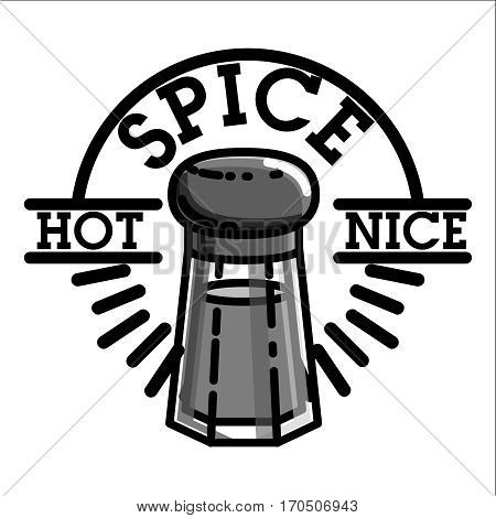 Color vintage spice shop emblem. Stylish design with sketch illustration of spice