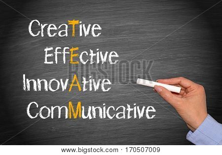TEAM business concept - creative, effective, innovative, communicative