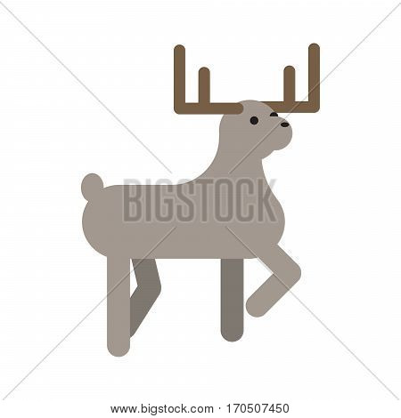 Deer flat style vector illustration isolated on white. Forest animal with horns.