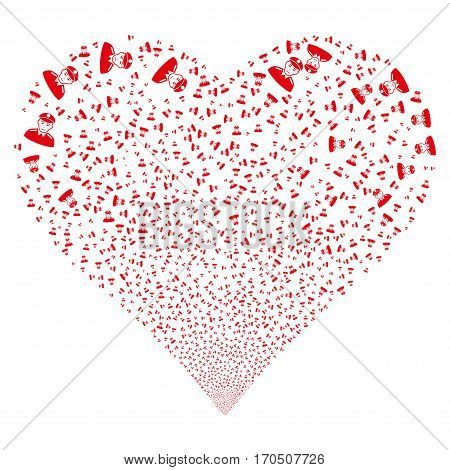 Soldier fireworks with heart shape. Vector illustration style is flat red iconic symbols on a white background. Object love heart constructed from confetti icons.