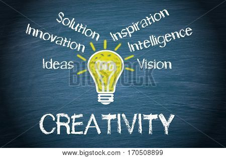 Creativity - yellow light bulb with text on blue chalkboard background