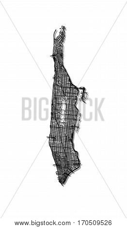 Streets of Manhattan - stylized black and white map.
