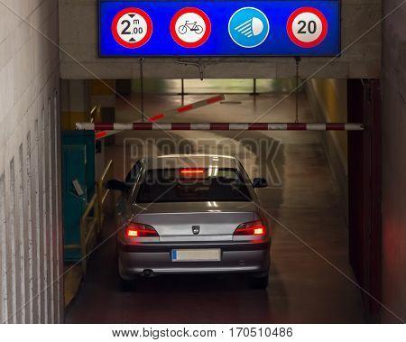 car enters into the underground car park