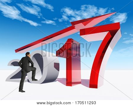 Conceptual 3D illustration human, man businessman  over an red 2017 year symbol  an arrow on blue sky background for economy finance corporate growth future goal progress success improvement profit