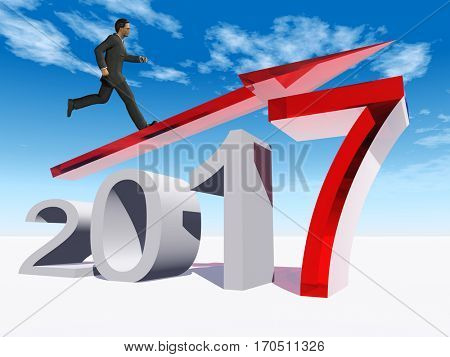 Conceptual 3D illustration human, man businessman standing over an red 2017 year symbol  an arrow on blue sky  background for economy growth future finance, progress success improvement profit design