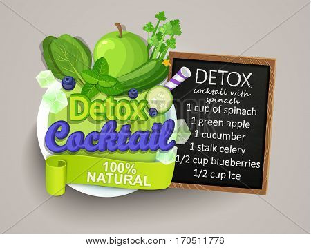 Recipe detox cocktail with cucumber, blueberry, ice, apple, spinach, mint. Vector illustration for diet menu, cafe and restaurant menu. Fresh smoothies, detox, fruit cocktail for healthy life.