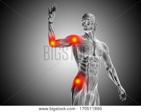 Conceptual 3D illustration human man anatomy upper body health design, joint articular pain, ache injury on gray  background for medical fitness medicine bone care hurt osteoporosis arthritis body