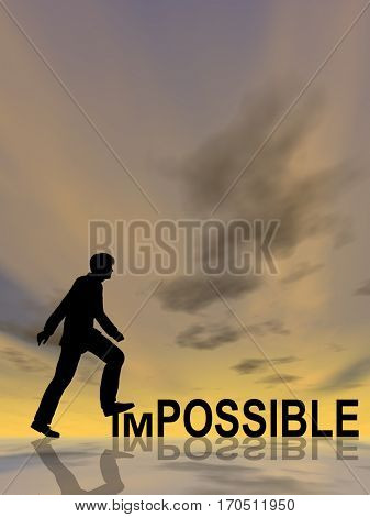 Concept or conceptual 3D illustration human man or businessman black silhouette on impossible or possible text at sunset, metaphor to success, challenge, motivation, achievement, business, goal, hope